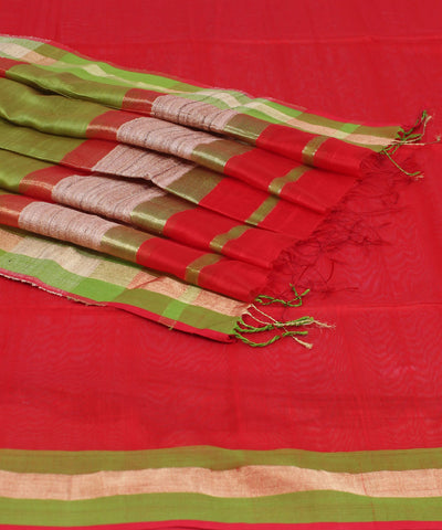 Maheshwari Handwoven Bright Red Sico Saree