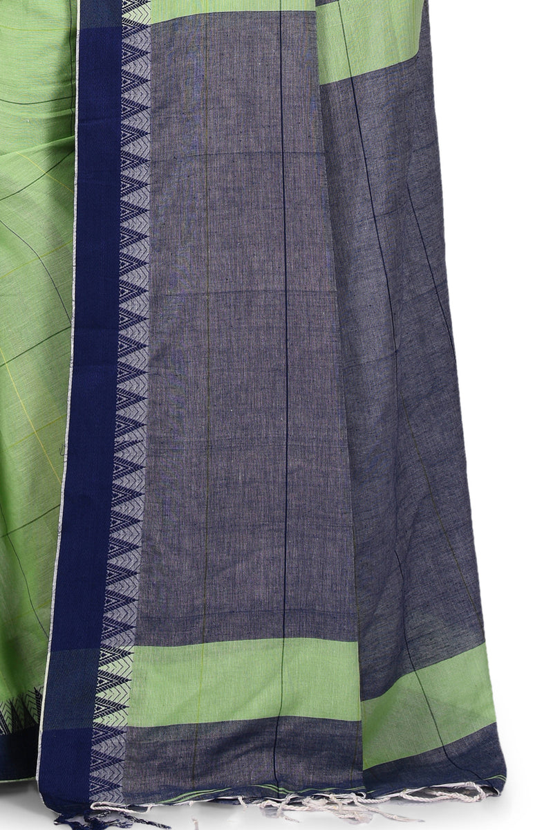 Handwoven Pastel Light Green Bengal Cotton Saree