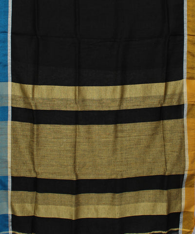 Handwoven Black Linen Saree