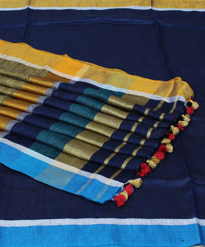 Navy blue Handwoven Linen Saree