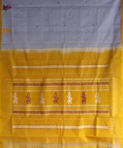 White and yellow gollabhama handloom Kora cotton saree