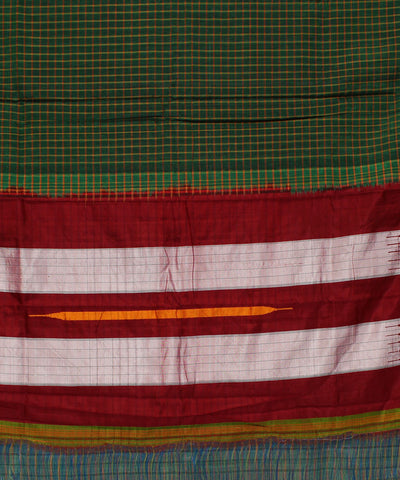 Handwoven Bottle Green Ilkal Checks Saree