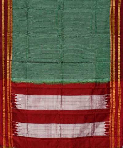 Handwoven Light Turquoise Ilkal Stripe Saree