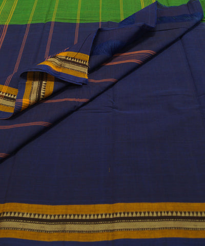 Loomworld Green and Blue Handwoven Chettinadu Cotton Saree