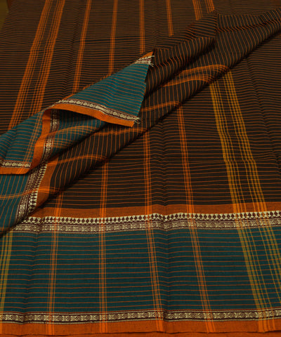 Brown Stripe Handloom Chettinadu Cotton Saree