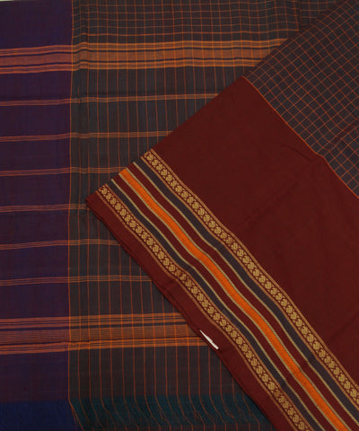 Brown Checks Handloom Chettinadu Cotton Saree