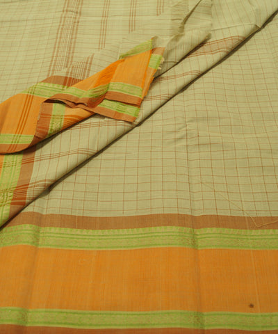 White Checks Handloom Chettinadu Cotton Saree