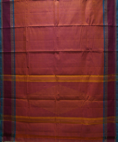 Loomworld Peach Handwoven Chettinadu Cotton Saree