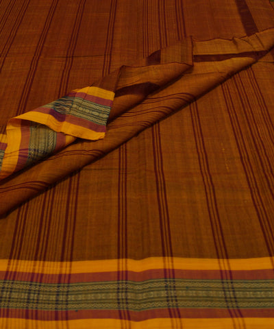 Brown Handloom Chettinadu Cotton Saree