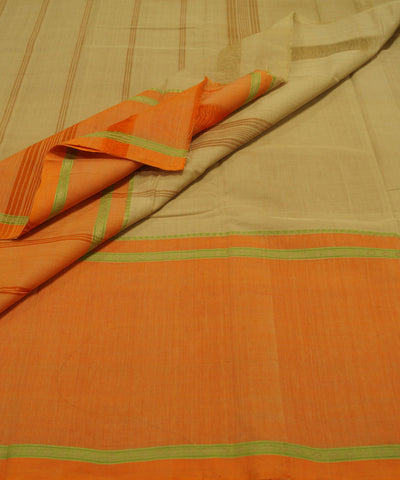 Loomworld Cream Handwoven Chettinadu Cotton Saree