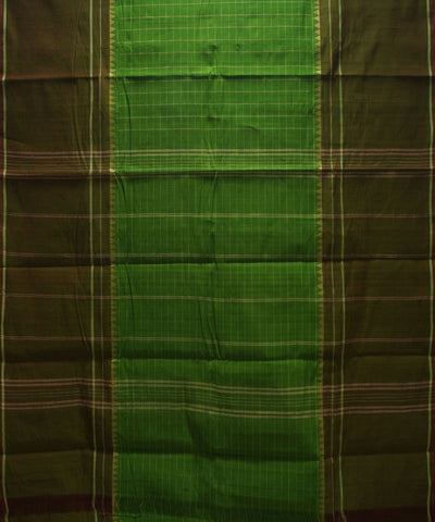 Loomworld Green Checks Handwoven Chettinadu Cotton Saree