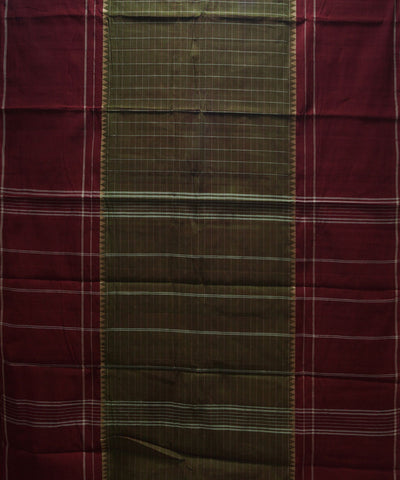 Loomworld Brown Checks Handwoven Chettinadu Cotton Saree