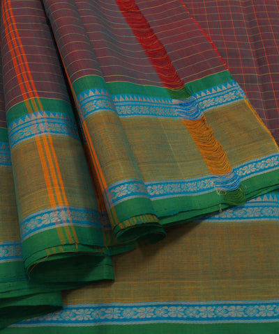 Loomworld Grey Checks Handwoven Chettinadu Cotton Saree