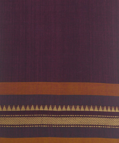 Loomworld Purple Handwoven Chettinadu Cotton Saree