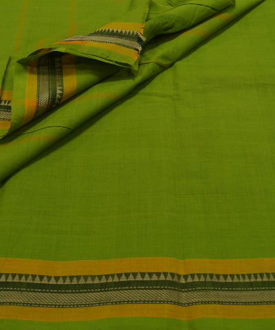 Parrot Green Handloom Chettinadu Cotton Saree