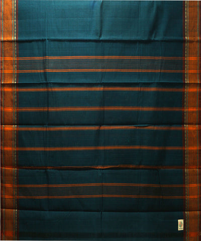 Loomworld Blue Handwoven Chettinadu Cotton Saree