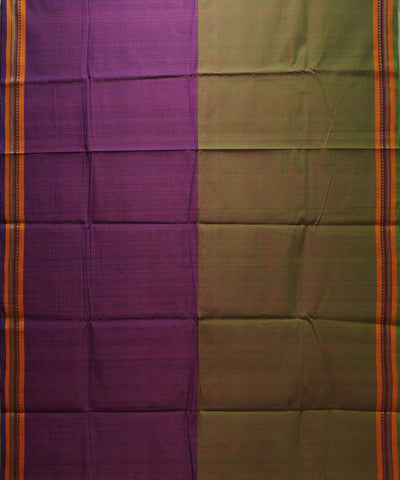 Violet Green Handloom Chettinadu Cotton Saree
