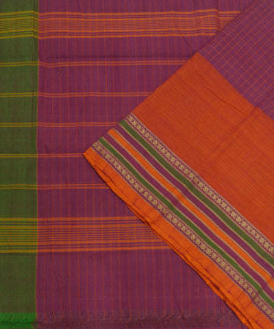 Loomworld Pink Checks Handwoven Chettinadu Cotton Saree