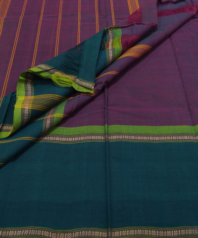 Loomworld Purple and Green Handwoven Chettinadu Cotton Saree