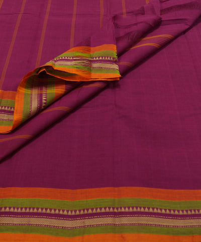 Loomworld Pink Handwoven Chettinadu Cotton Saree