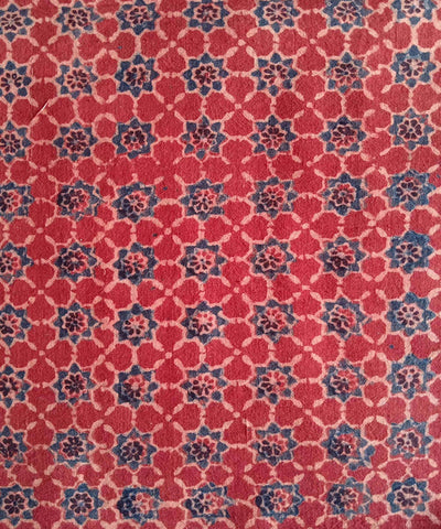 red blue ajrakh handblock print handspun organic cotton kurta fabric