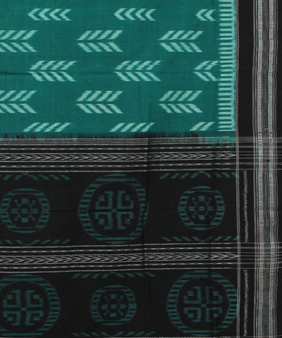 Sambalpuri Handloom Sea Green Black Saree