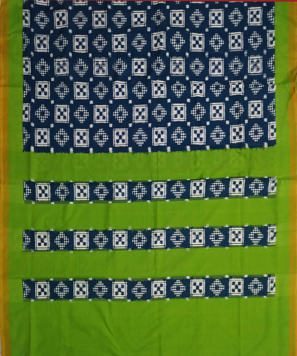 Dark Blue Green Pochampally Ikkat Handwoven Cotton Saree