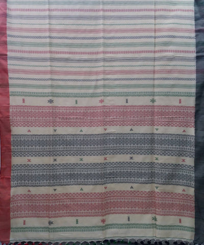 Bengal Beige Multicolor Handloom Cotton Saree