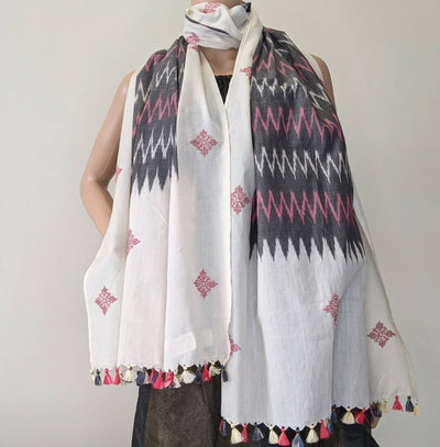 Black and white kasuti hand embroidery ikat cotton stole