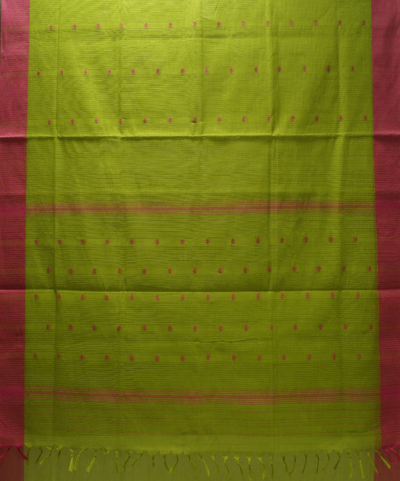 Loomworld Lemon Green and Pink Handwoven Kovai Organic Cotton Saree