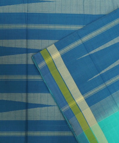 Loom World Blue Handwoven Coimbatore Cotton Saree
