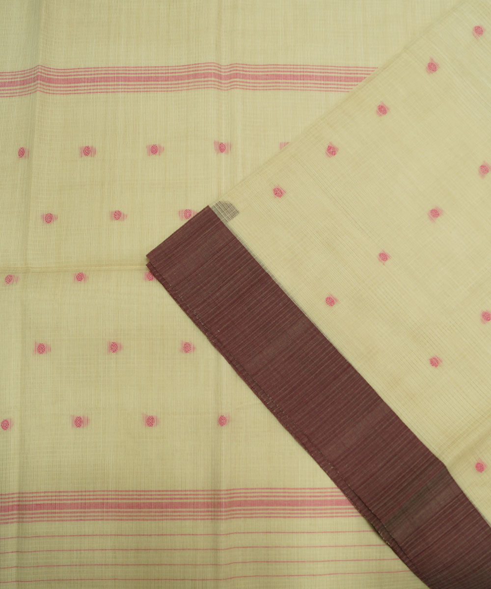 Loomworld Cream Handwoven Kovai Organic Cotton Saree