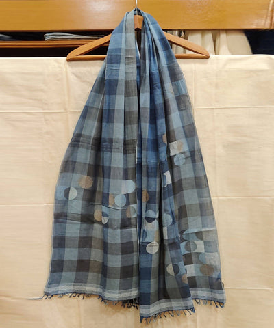 Indigo Blue Natural Dye Handwoven Checks Cotton Stole