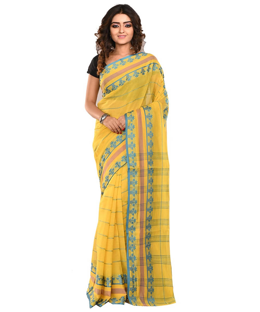 Yellow and Blue Bengal Handloom Cotton Saree