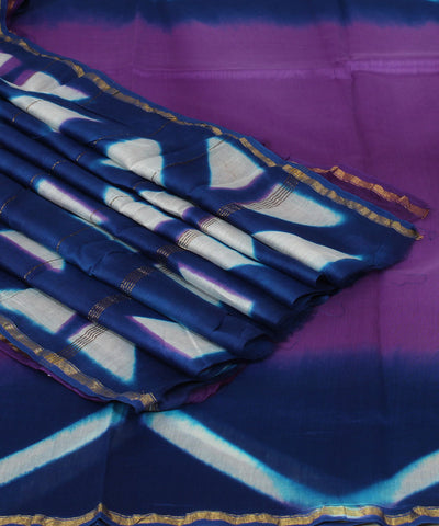 Chanderi Violet and Blue Printed Saree