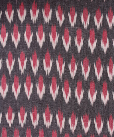 Pink and White Handwoven Ikat Cotton Fabric