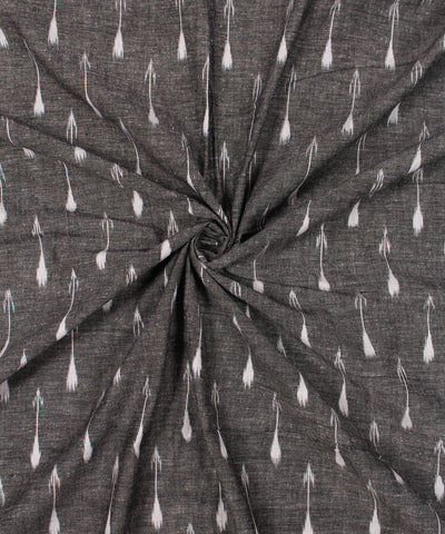 Handwoven Grey and White Ikat Cotton Fabric (GCCCOFBA006)