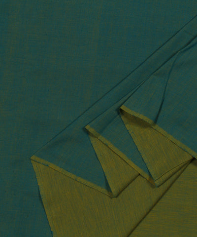 Handloom Yellow and Blue Reversible Cotton Fabric