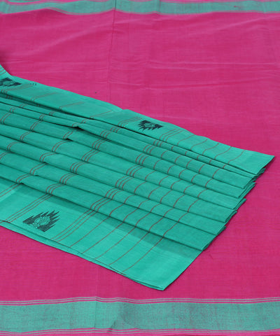 Kanchi Cotton Saree Handwoven in Pink
