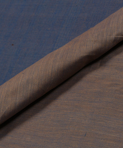 Handloom Grey and Blue Reversible Cotton Fabric