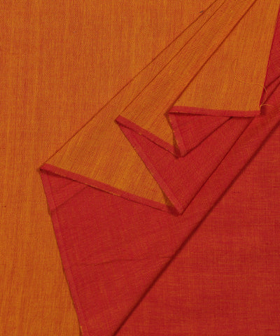 Handloom Red and Yellow Reversible Cotton Fabric