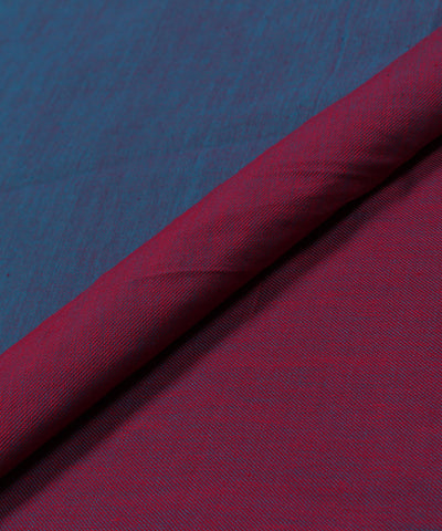 Handloom Blue and Magenta Reversible Cotton Fabric