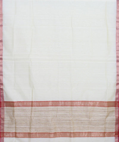 Cream Handwoven Maheshwari Sico Saree