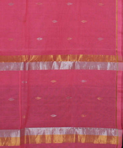 Peach Pink Handwoven Venkatagiri Cotton Saree