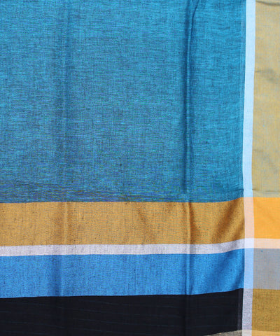 Linen Blue Handwoven Saree