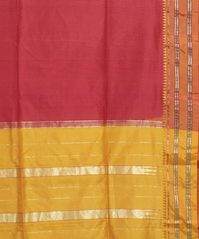 Red Yellow Handwoven Narayanapeta Silk Saree
