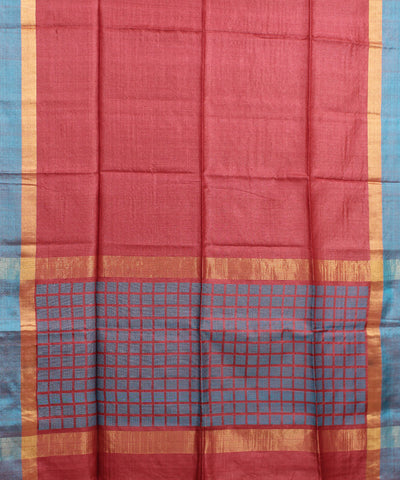 Peach Bronze Handwoven Tussar Saree