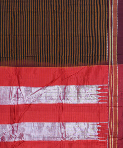 Brown Striped Handwoven Ilkal Cotton Saree
