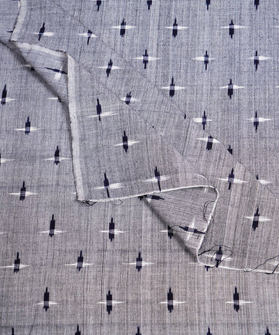 Handloom Grey Pochampally Ikat Cotton Fabric
