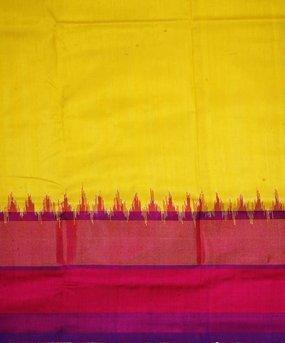 Handloom Yellow Purple Ikkat Silk Dupatta